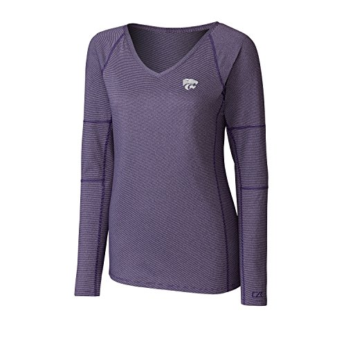 Cutter & Buck NCAA Kansas State Wildcats Adult Women Long Sleeve Victory V-Neck, X-Large, College Purple