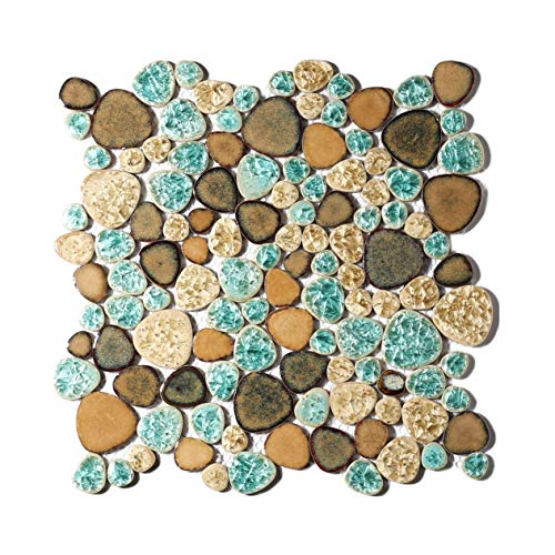 Pebble Porcelain Tile Fambe Turquoise Green Beige Shower Floor Pool Alley Tiles Mosaic TSTGPT005 (10 Square Feet) (Best Grout For Mosaic Tile Backsplash)