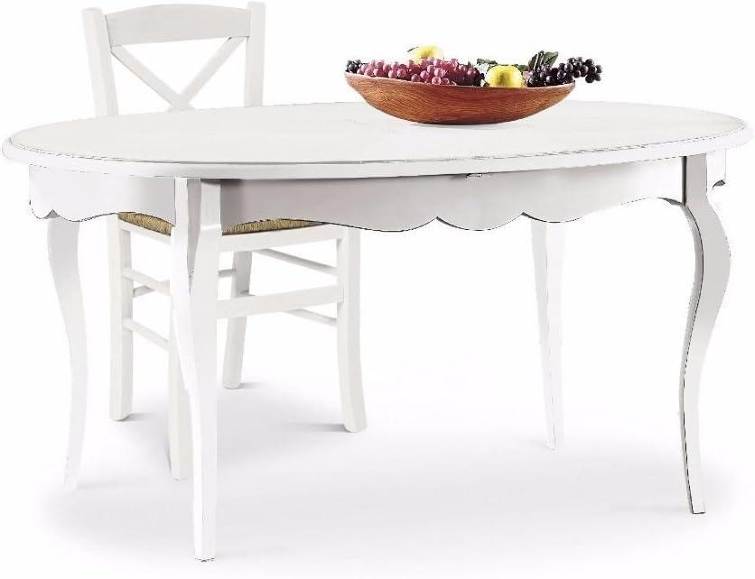 Mesa de comedor clásica, de estilo, shabby chic, blanca, ovalada ...