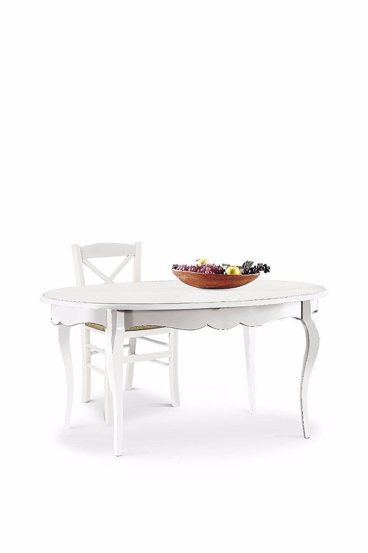CLASSICO tavolo da pranzo shabby Chic bianco rotondo allungabile ...