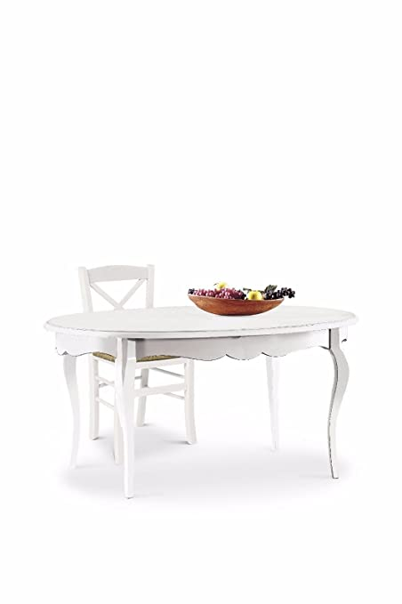 Classic Dining Table Shabby Chic White Oval Extendable with Inlay ...