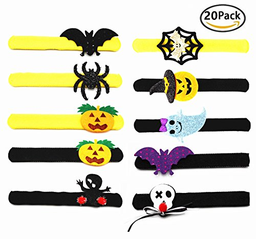 Slap The Bag Halloween Costume (Slap Bracelets Halloween Party Favors Decor Supplies Wrist Decoration Assorted Toy- Bat, Pumpkin, Ghost, Spider,Skull Design (20 Pcs))