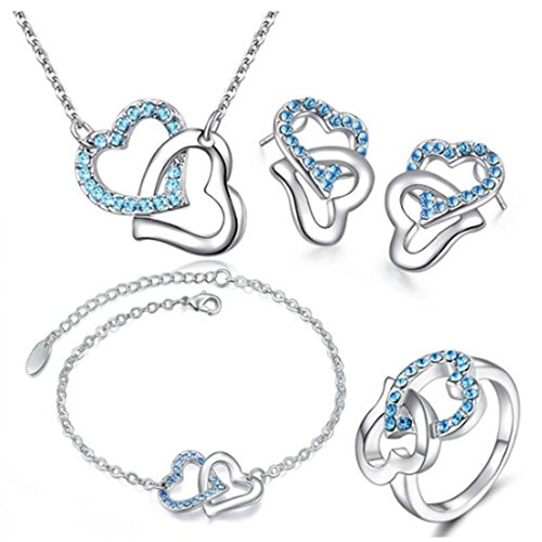 MAFMO Fashion Sea Blue Rhinestone Double Heart Jewelry Set 4pcs Necklace Bracelet Ring Earrings