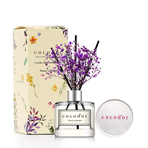 Cocod'or Mini Flower Home & Car Diffuser/French Lavender/1.6oz/Fragrance Decor for Cars Cubicles and Small Rooms/Diffuser Oil Sticks Gift Set