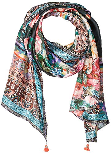 Johnny Was Women's Patterned Silk Rectangle Scarf with Tassels, black, -