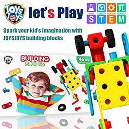 JOYSJOYS STEM Toys for Boys and Girls 46 Piece Educational Construction Engineering Building Blocks Set for Age 3 4 5 6 7 8 9 10 Year Old and Up, Creative Games for Kids & Fun Building Toys