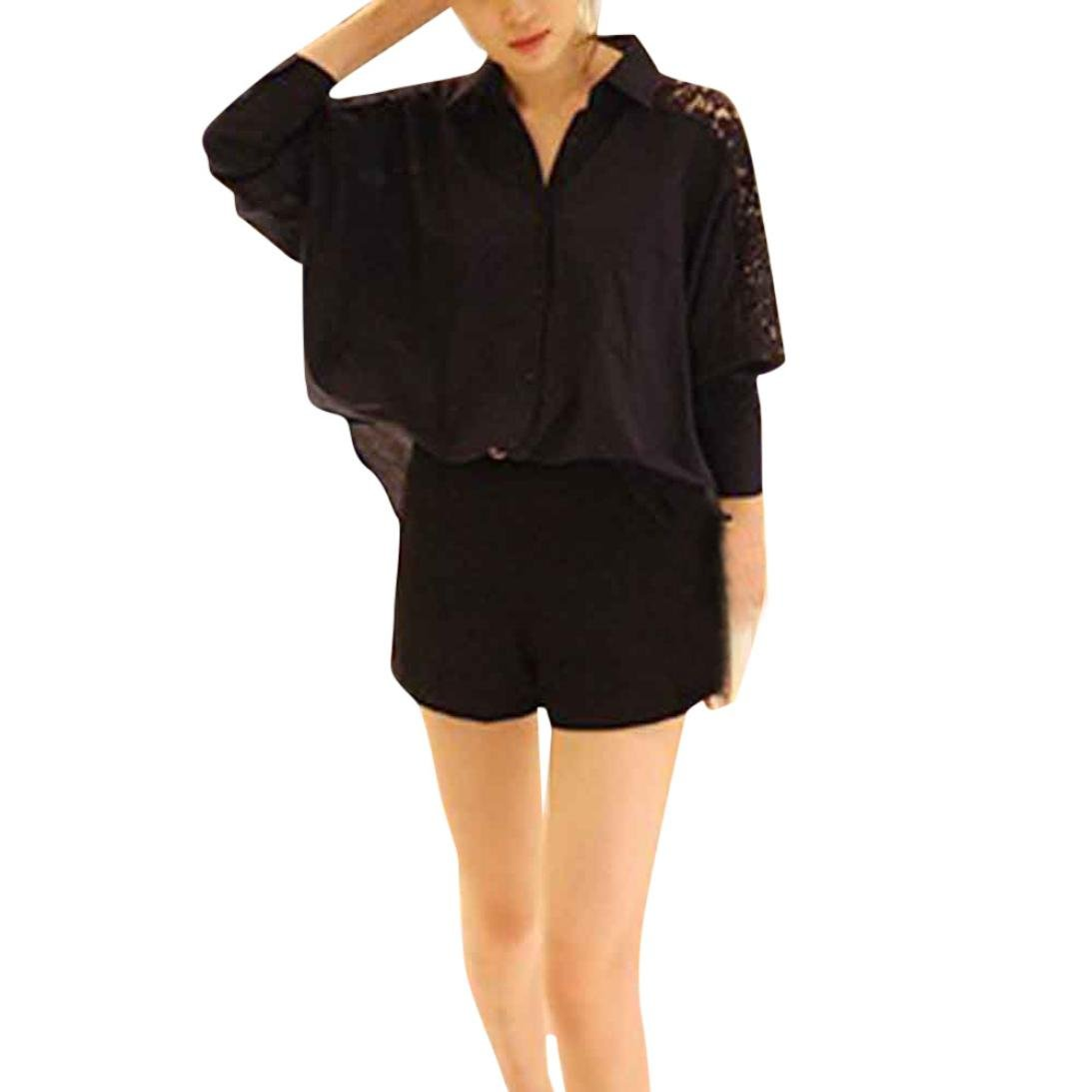 Orangeskycn Formal Shirts For Women Casual Plus Size Lace Loose Long Sleeve Blouse