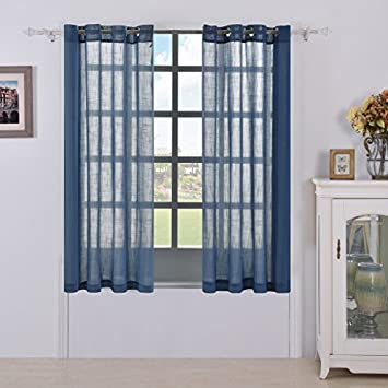 Best Dreamcity Faux Linen Semi Sheer Curtains For Living / Kitchen Room  (Set Of 2