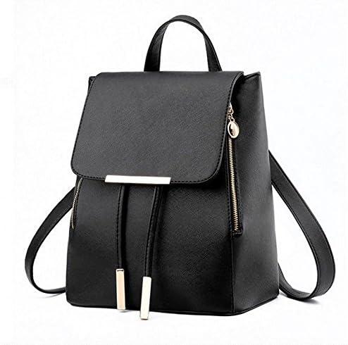 Jecxep Retro Women Student PU Schoolbag Mini Travel Backpack Shoulder Bag Black