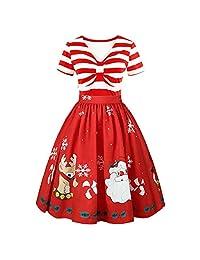 Pervobs Women Elegant Christmas Print Short Sleeve Floral Lace Vintage Mini Dress