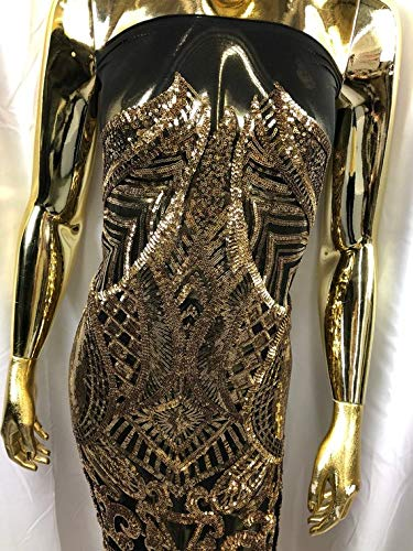Iridescent Sequins 4 Way Stretch Embroided Lace Fabric - Gold with Black Mesh - Lace Mesh Sequined Fabrics by The Yard