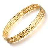Girl Era 18K Twisted Set of 4 Gold Bracelets Charm Bracelets Gold Bangles