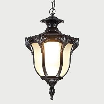 Farolillos Lámparas de Techo Al aire libre Luz pendiente Montaje de techo impermeable IP54 Pérgola Jardín Lámpara colgante de cristal linterna Pergola Porche iluminación de la lámpara E27: Amazon.es: Iluminación
