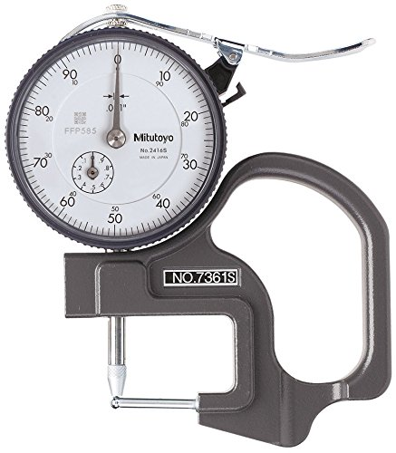 Mitutoyo 7361S Dial Thickness Gage, Tube Thickness Anvil, 0-0.5