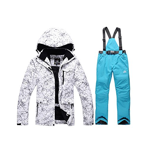 Women's Ski Jacket High Windproof Waterproof Technology Snow Jacket and Pants Blue Large ()