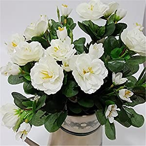 JJH 1 Branch Silk Azalea Tabletop Flower Artificial Flowers 20
