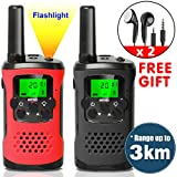 Walkie Talkies for Kids Rechargeable with Earpiece Long Range 22 Channel 2 Way Radio Flash Light Handheld Outdoor Camping Pretend Play Toys for Boys Girls Family Summer Travel Gift