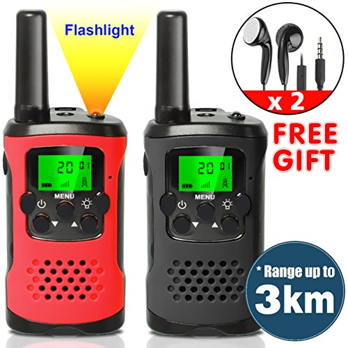 Walkie Talkie Gps - AMENON rechargeable Walkie Talkies for Kids with Earpiece Long Range 22 Channel 2 Way Radio Flash Light Handheld Outdoor Camping Pretend Play Toys for Boys Girls Family Summer Camp Gift(black and red)