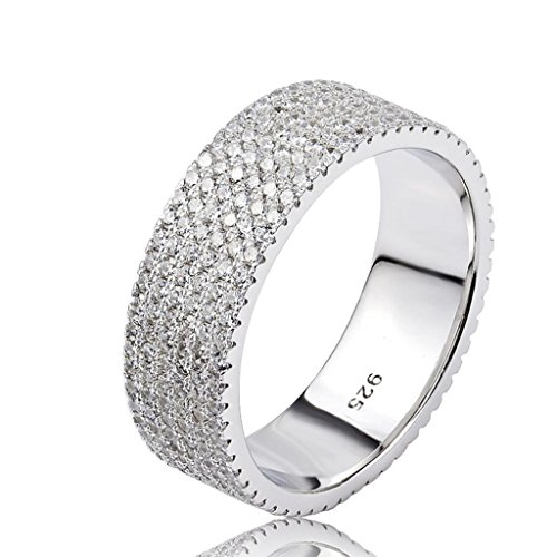 Sterling Silver Enhancer Mounting (KnSam Women Sterling Silver Eternity Ring 6 Rows Channel Set All-Around Ring Size 6.5 Crystal)