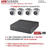 Hikvision T7104Q1TA 4-Channel 1080p DVR with 1TB HDD and 4 1080p Outdoor Turret Cameras Kit