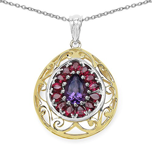 Johareez 3.90 cts Amethyst & Rhodolite .925 Sterling Silver 14K Yellow Gold Plated Pendant for -