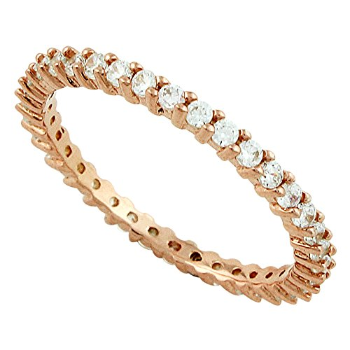CloseoutWarehouse Cubic Zirconia Stackable Eternity Ring Plated Sterling Silver Rose Gold-Tone Size 7