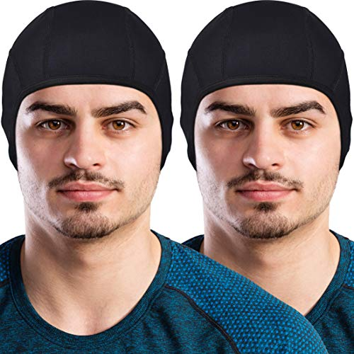 2 Motorcycle Helmet Liner - GearTOP Skull Cap Helmet Liner Running Beanie (2 Pack Black)