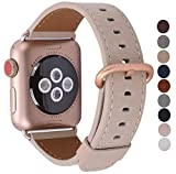JSGJMY Compatible Iwatch Band 38mm 40mm S/M Women Genuine Leather Loop Replacement Strap Compatible iWatch Gold Aluminium Series 4 (40mm) Series 3 (38mm),Light tan