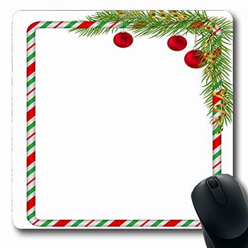 (Tobesonne Mousepads Festivity Green Blank Christmas Border Candy Cane Branch Tree Letter Fir Red Balls Gold Serpentine Oblong Shape 7.9 x 9.5 Inches Non-Slip Gaming Mouse Pad Rubber Oblong Mat )