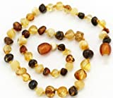 The Art of CureTMSAFETY KNOTTED Multi Colored Round - (Unisex) - Certified Baltic Amber Baby Teething Necklace Highest Quality Guaranteed- Anti Flammatory, Drooling & Teething Pain