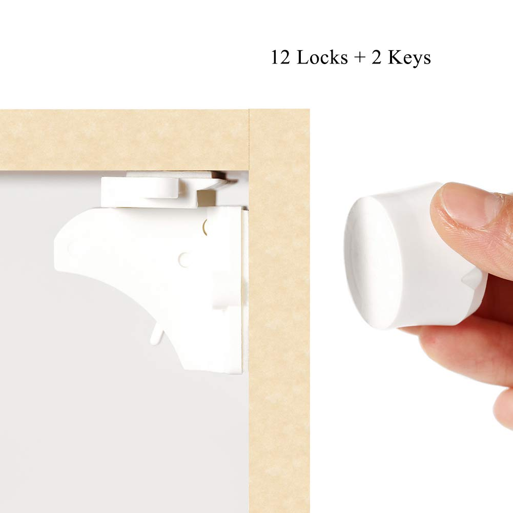 Magnetic Cabinet Locks for Baby Safety, Child Proof System for Cabinet & Drawer, No Drilling and Easy to Install(12 Locks + 2 Keys, White)