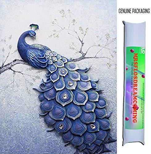 Mrsflosdreamcaming 5D DIY Diamond Painting Kits Blue Erect Peacock Cross Stitch with Round Drill Diamond Embroidery Decor Christmas Gifts 40x57cm (Peacock) (Embroidery Designs Peacock)
