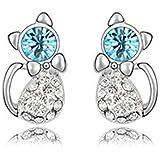 findout plaqué or blanc cristal bleu / rose zircone cubique mignon oreilles de chat, pour les femmes les filles (f1678)