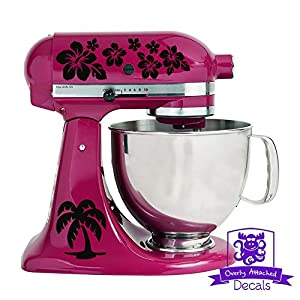 Tropical Hawaiian Palm Tree and Flower Pattern Kitchen Stand Mixer Front & Back Decal Set