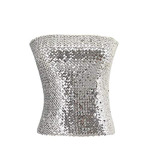(Womens Girls Sparkling Sequins Tube Top Strapless Stretchy Tank Top Crop Top Sexy Bra Party Costume Clubwear)