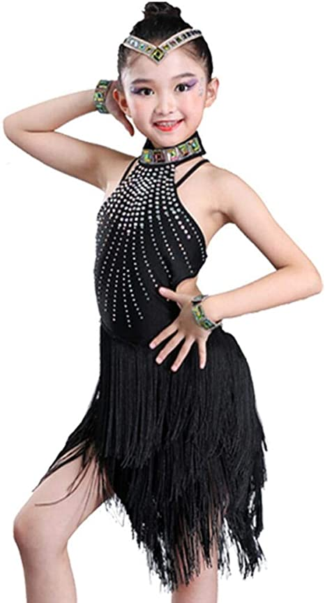 ZYLL Trajes de Baile Latino para niños Franjas Falda Falda Traje ...