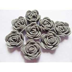 "YYCRAFT Pack of 20PCS Felt Rose 1.5"" 4D Flower Applique/Bow 1"