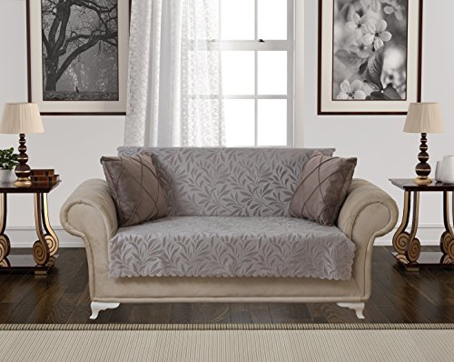 Taupe Leather Sofa Couch - 7