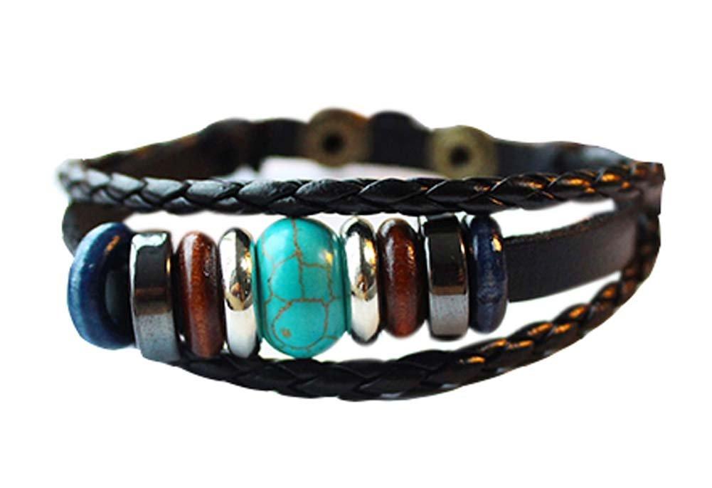 Ensemble de 2 Bracelets ethniques de charme de bijoux Bracelets en cuir de chaîne de corde Cadeaux Blancho Bedding