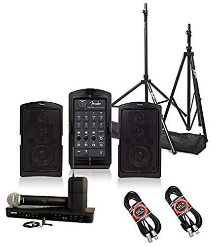 Fender Passport Conference Portable Speaker System Bundle with Shure BLX1288/CVL Combo Wireless Microphone System and Accessories - Portable PA System (5 items)