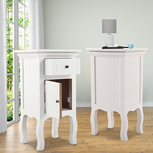 JAXPETY Set of 2 New White Curved Legs Accent Side End Table Nigh stand Furniture Bedroom W/Drawer and Door (2) Review