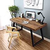 Tribesigns 55'' Solid Wood Computer Desk Rustic Desks with Heavy-Duty Metal Base, Simple Retro Style Office Desk Workstation (Light brown)
