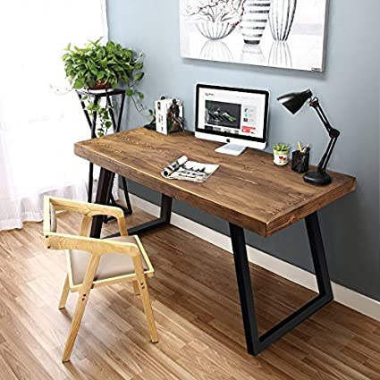 Amazoncom Tribesigns 55 Solid Wood Computer Desk Rustic Desks