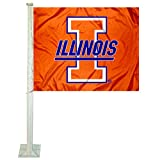 Illinois Fighting Illini Throwback Logo Car and NCAA Auto Flag