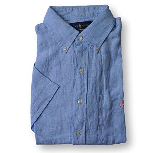 Polo Ralph Lauren Men's Short Sleeve Linen Sport Shirt, Blue, L (Shirts Signature Embroidered)