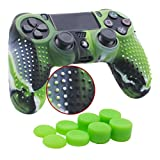 YoRHa Studded Silicone Cover Skin Case for Sony PS4/slim/Pro controller x 1(camouflage green) With Pro thumb grips x 8