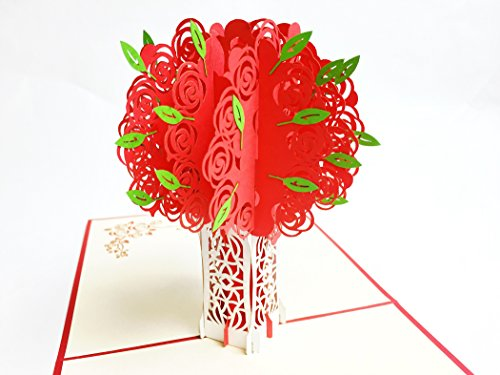 Birthday Beauty Bouquet - Creve 3D Popup Greeting Card Birthday Card Bouquet Of Red Roses