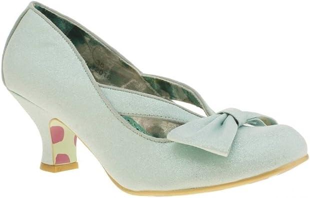 Irregular Choice Fancy That Ha Ha Dazzle Low Mint Bow Heel Uk 7 5