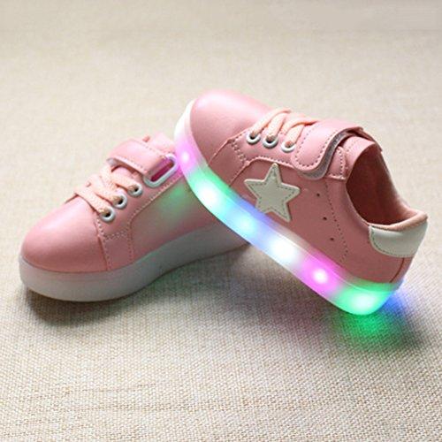 Highdas Jungen Mädchen Prewalker Blitz-Beleuchtung Schuhe Rosa