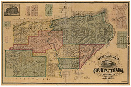Tehama County California 1878 - Wall Map t with Landowner Names Farm Lines Genealogy Old Map Reprint
